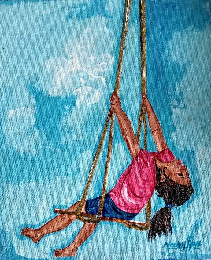 Flight To Freedom-By Neeraj Raina by Neeraj Raina, Expressionism Painting, Acrylic on Canvas, Cyan color