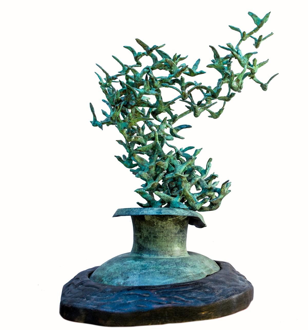 Freedom by Biplab Sarkar, Art Deco Sculpture   3D, Bronze, White color