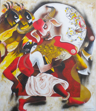 folk dance 8 by Uttam Manna, Expressionism Painting, Acrylic on Canvas, Brown color
