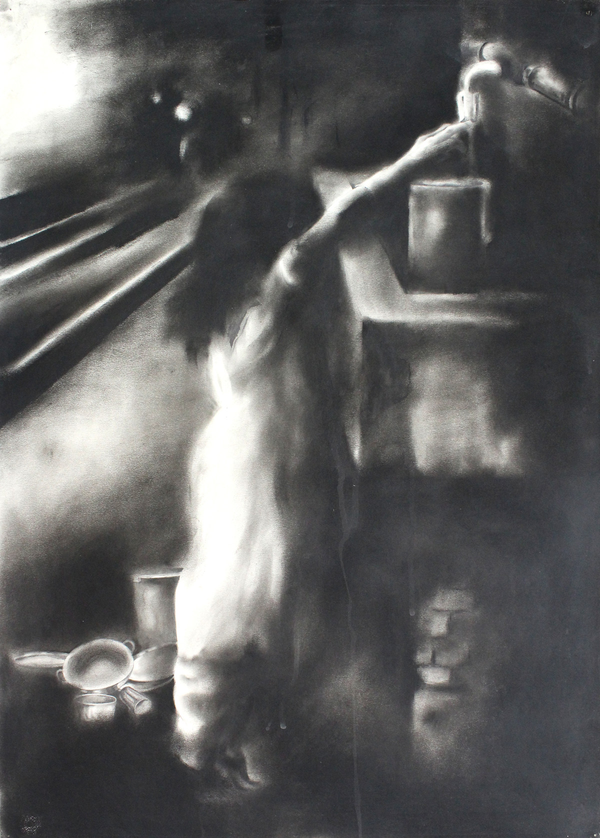 Child Labor 7 by Chinmay Das, Illustration Drawing, Charcoal on Paper, Gray color