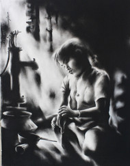Child Labor 8 by Chinmay Das, Expressionism Drawing, Charcoal on Paper, Gray color
