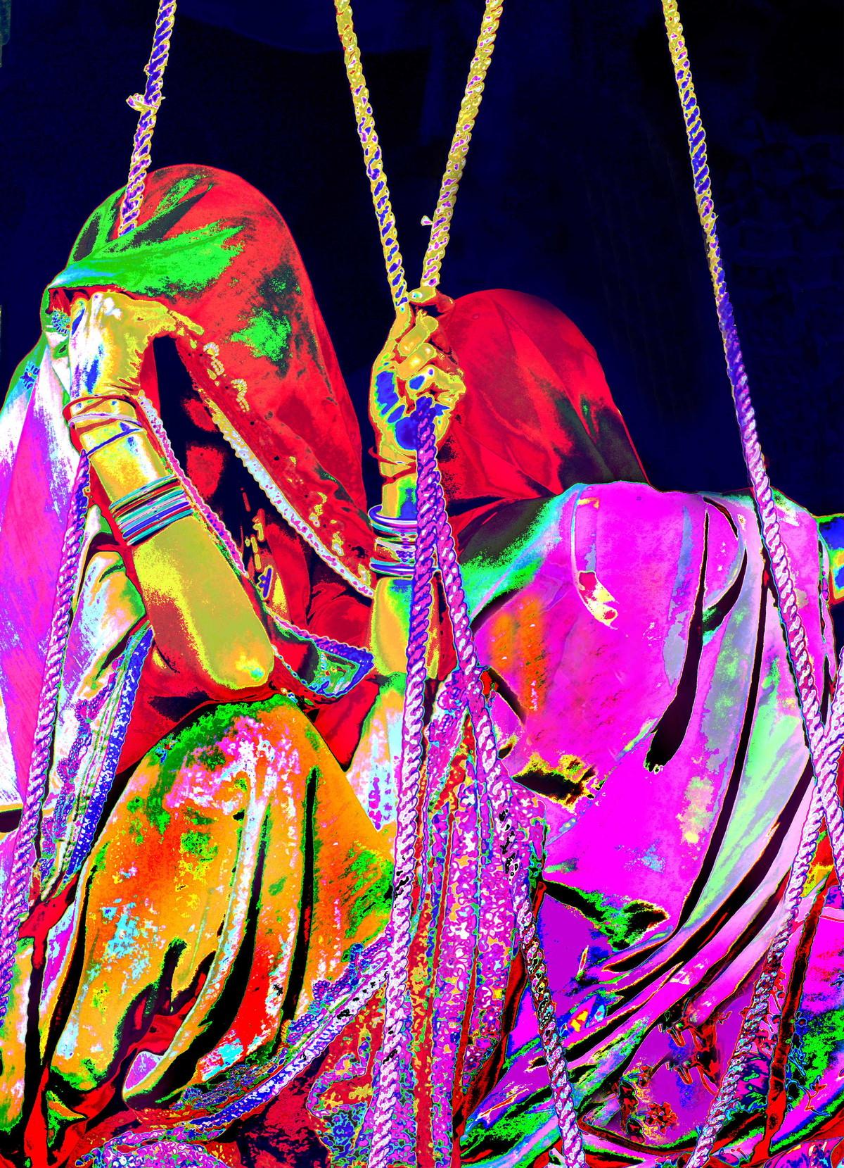 Women to market pusker by Karan Khanna, Image Photography, Oil on Canvas, Purple color