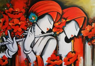 rhythm of love by pradeesh k raman, Expressionism Painting, Acrylic on Canvas, Brown color