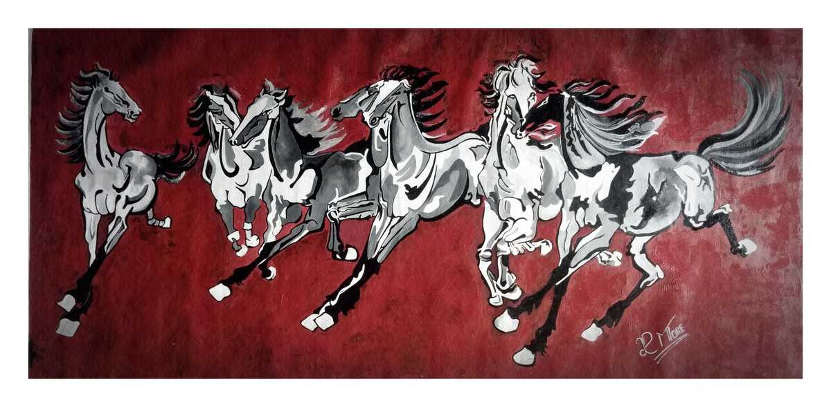 7 Running Horses By Artist Paresh More Expressionism Painting Mojarto 265164