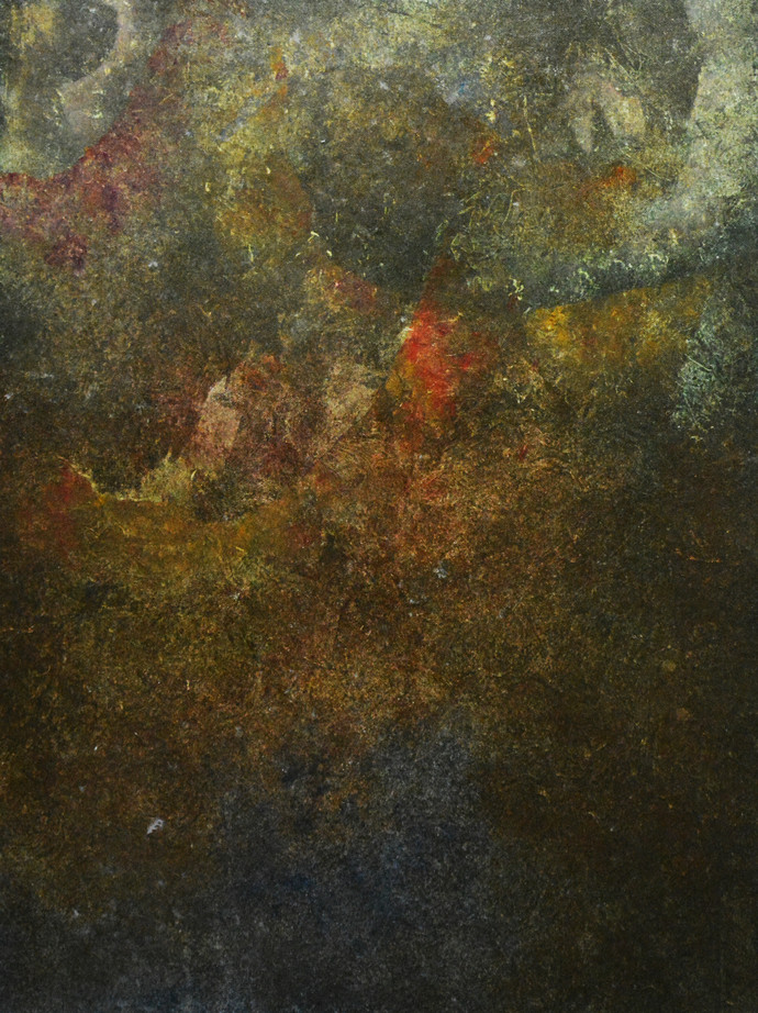 COALESCED by Mudit Rastogi, Abstract Painting, Oil on Canvas, Brown color