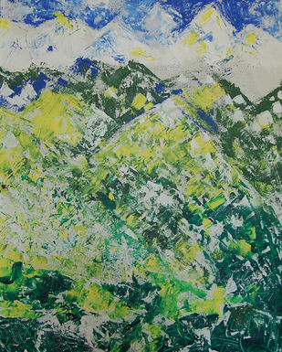 LANDSCAPE by Chandana khan, Abstract Painting, Acrylic on Canvas, Green color