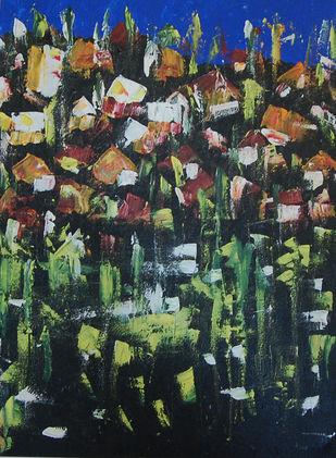 ABSTRACT LANDSCAPE 3 by Chandana khan, Abstract Painting, Acrylic on Canvas, Green color