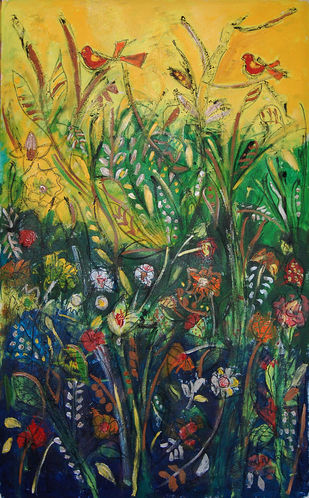 SPRING 2 by Chandana khan, Expressionism Painting, Acrylic & Graphite on Canvas, Green color