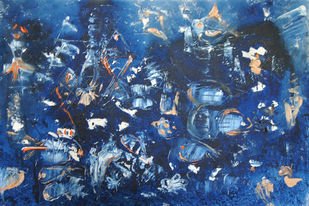 ABSTRACT WATERSCAPE by Chandana khan, Abstract Painting, Acrylic on Canvas, Blue color
