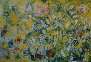 ABSTRACT FLORAL by Chandana khan, Abstract Painting, Acrylic on Canvas, Green color