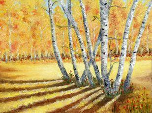 Autumn Sanctum by Neha Bisht , Impressionism Painting, Oil on Canvas Board, Beige color