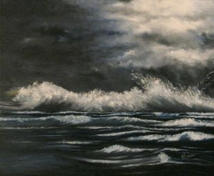 Moonlit Ballad by Neha Bisht , Impressionism Painting, Oil on Canvas, Gray color