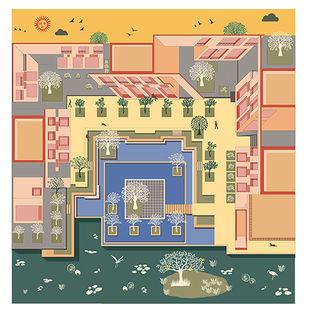 """The courtyard of calmness"" by Vignesh Premkumar, Geometrical Digital Art, Ink on Paper, Beige color"