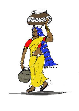 """The Rajasthani woman"" by Vignesh Premkumar, Illustration Digital Art, Ink on Board, White color"