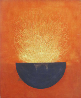 energy by Deepak sahagal, Expressionism Painting, Acrylic on Canvas, Orange color