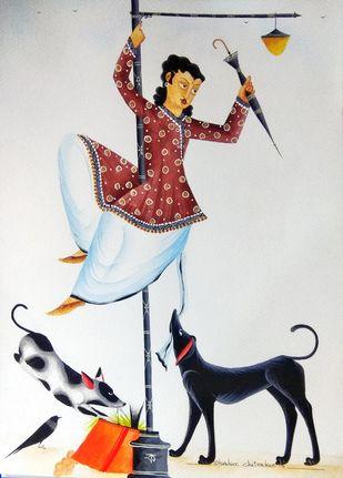 """Babu """"pole-dancing"""" by Bhaskar Chitrakar, Folk Painting, Natural colours on paper, Gray color"""