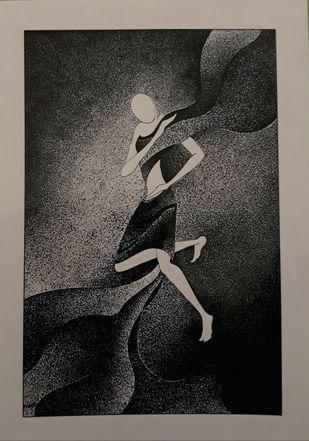 Power of gestures by Reena Tomar, Illustration Painting, Pen & Ink on Canvas, Gray color