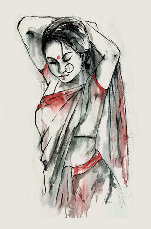 INDIAN LADY -1 by MADURAI GANESH, Illustration Painting, Watercolor and charcoal on paper, Gray color