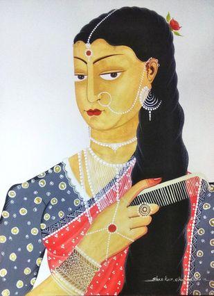 Bibi combing her hair, gazing at herself by Bhaskar Chitrakar, Folk Painting, Natural colours on paper, Gray color