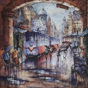 Tram in kolkata by Shubhashis Mandal, Impressionism Painting, Watercolor on Paper, Brown color