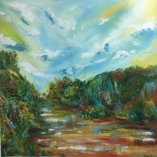 Mekong Delta by Tvesha Singh, Expressionism Painting, Acrylic on Canvas, Green color
