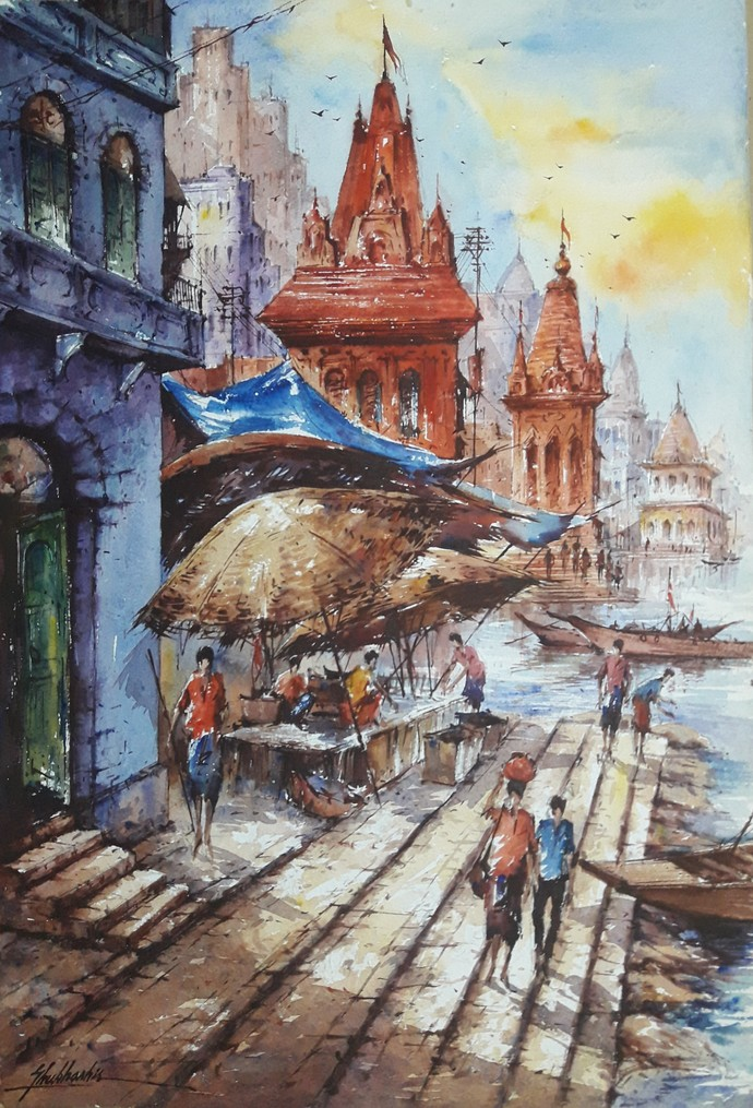 Benaras-2 by Shubhashis Mandal, Impressionism Painting, Watercolor on Paper, Brown color
