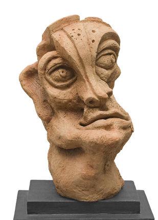A Simple Man by Atish Mukherjee, Art Deco Sculpture | 3D, Terracotta, White color
