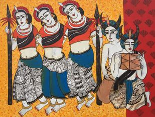 Chhattisgarih Dancers by Nandini, Expressionism Painting, Acrylic on Canvas, Brown color