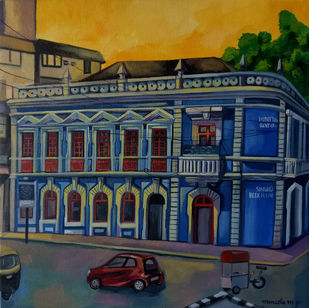 singbal bookhouse, Goa by Manuela Gomes, Expressionism Painting, Acrylic on Canvas, Blue color