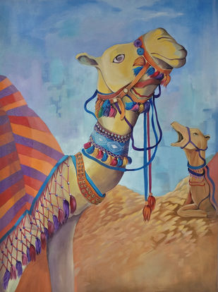 Camel composition by Manuela Gomes, Impressionism Painting, Acrylic on Canvas, Brown color