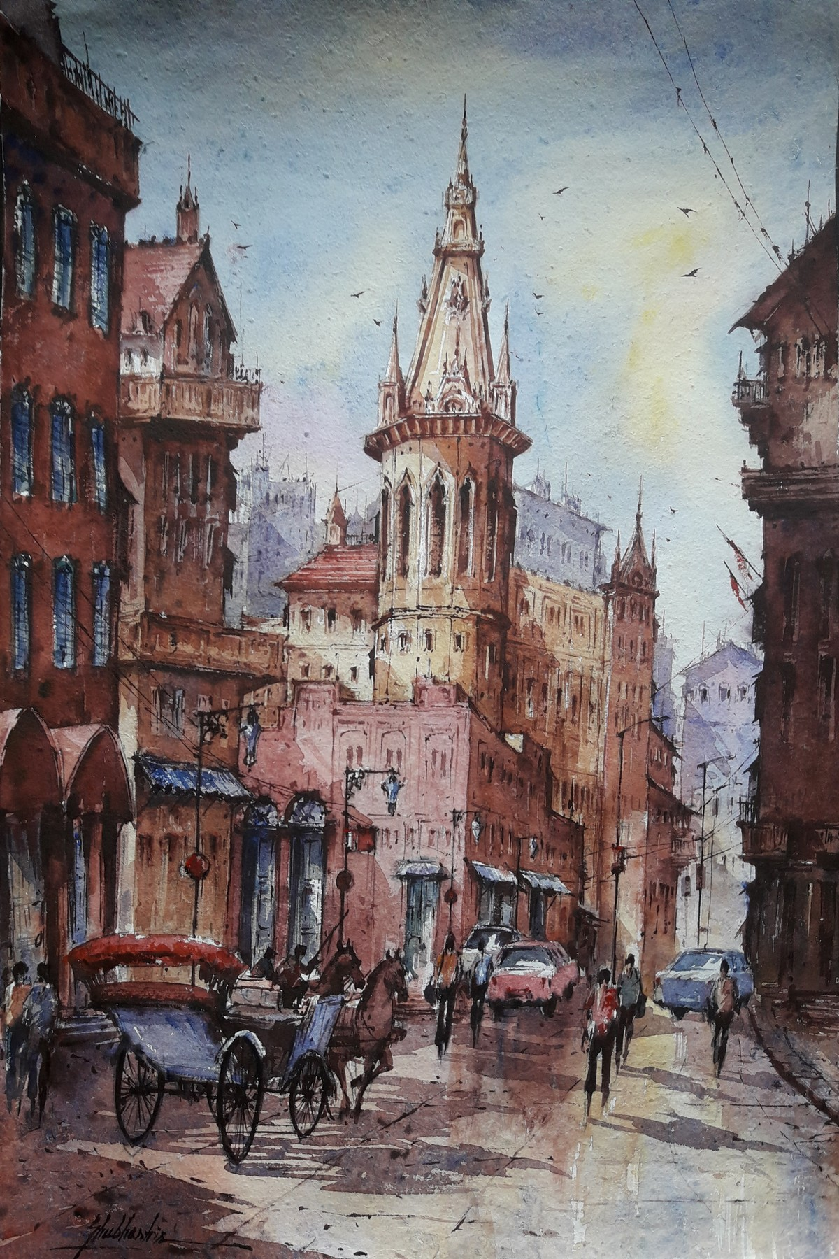 Cityscape-1 by Shubhashis Mandal, Impressionism Painting, Watercolor on Paper, Brown color