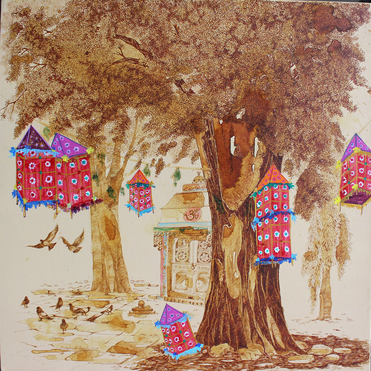 HYD Diary_31 by Debabrata Biswas, Impressionism Painting, Acrylic & Ink on Canvas, Brown color