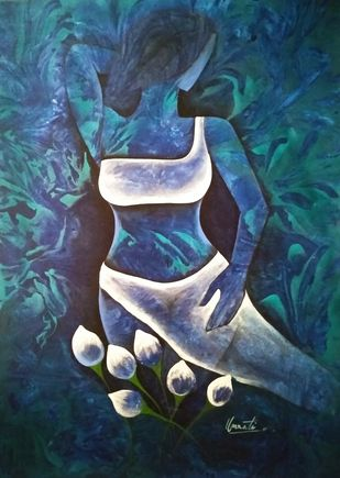 Lady with Lotus by Unnati S Khare, Expressionism Painting, Acrylic on Canvas, Blue color