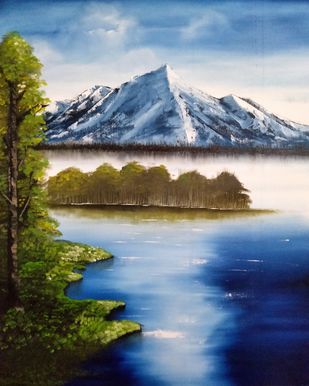 Snowy Mountain by Unnati S Khare, Expressionism Painting, Oil on Canvas, Blue color