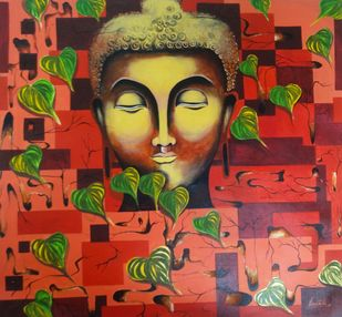 Buddha I by Unnati S Khare, Decorative Painting, Acrylic on Canvas, Brown color