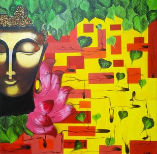 Buddha II by Unnati S Khare, Expressionism Painting, Acrylic on Canvas, Green color