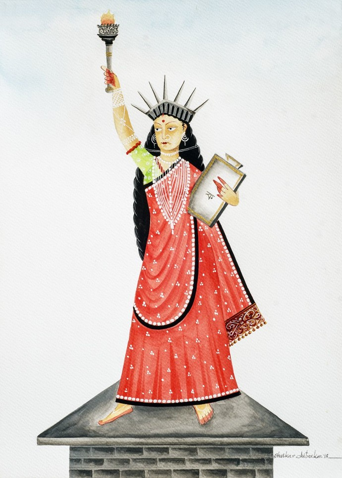 Liberty by Bhaskar Chitrakar, Folk Painting, Natural colours on paper, Gray color