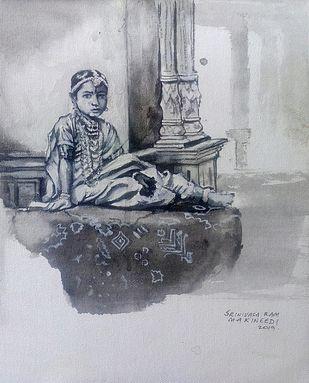 Vintage princess by Sreenivasa Ram Makineedi, Illustration Painting, Acrylic on Canvas, Gray color