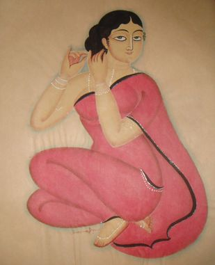 Untitled by KALAM PATUA, Folk Painting, Watercolor on Paper, Beige color