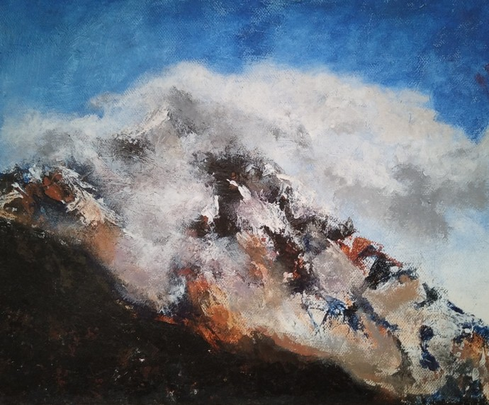 Misty mountain by Rinden, Expressionism Painting, Acrylic on Board, Gray color