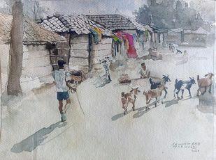 Village road by Sreenivasa Ram Makineedi, Impressionism Painting, Watercolor on Paper, Gray color