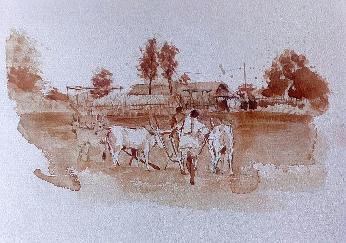 Farmer Digital Print by Sreenivasa Ram Makineedi,Impressionism
