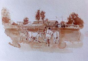 Farmer by Sreenivasa Ram Makineedi, Impressionism Painting, Watercolor on Paper, Pink color