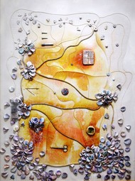 """""""Septum"""" by Viraag Desai, Abstract Painting, Mixed Media on Canvas, Gray color"""