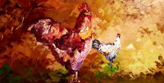 rooster by Ganesh Panda, Expressionism Painting, Oil on Canvas, Brown color
