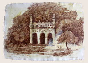 HYD Diary_13 by Debabrata Biswas, Impressionism Drawing, Acrylic & Ink on Paper, Brown color