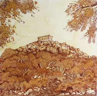 HYD Diary_18 by Debabrata Biswas, Impressionism Drawing, Acrylic & Ink on Canvas, Brown color