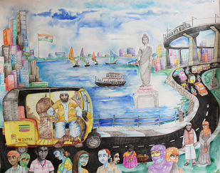HYD Diary_12 by Debabrata Biswas, Impressionism Painting, Mixed Media on Paper, Gray color