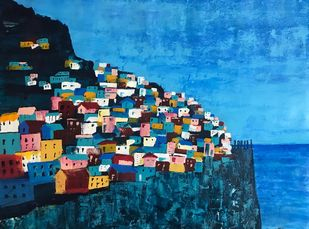 Coastlines by sapna anand, Expressionism Painting, Acrylic on Canvas, Blue color
