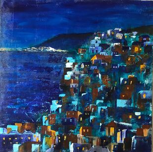City by the Night by sapna anand, Abstract Painting, Acrylic on Board, Blue color